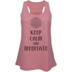 Keep Calm Meditate Flower Of Life black