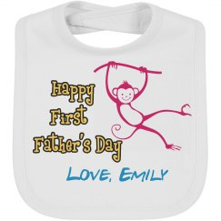 Happy First Father's Day Bib