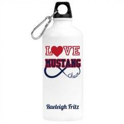 LOVE Mustang Cheer Water Bottle