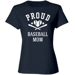 Proud Rhinestone Baseball Mom