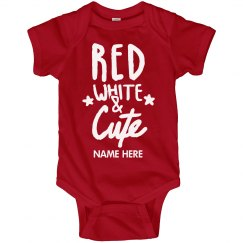 Custom Name Red White & Cute