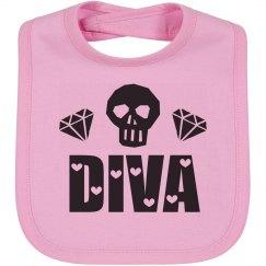 Cute Skull Diva Hearts Baby Bib