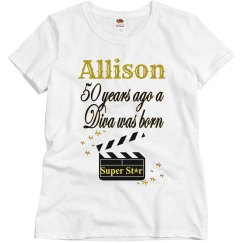 GOLD 50TH BIRTHDAY MOVIE STAR DESIGN
