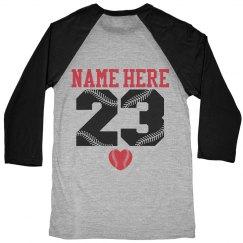 Baseball Girlfriend Shirt Custom Name Number Back