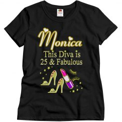 GORGEOUS GOLD 25 AND FABULOUS PERSONALIZED T SHIRT