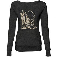 Cowgirl Boots & Hat Wide Neck Sweater