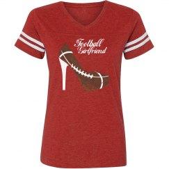 Football Girlfriend - Ladies vintage stripe t-shirt