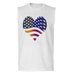 US Flag Heart w/Rainbow
