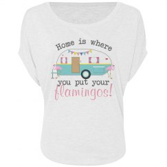 Home & Flamingos Slouchy Tee