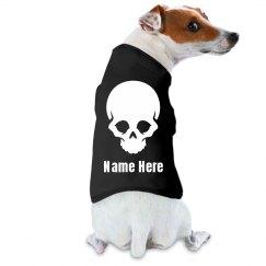 Custom Name Glow In The Dark Text Skull Dog Tee