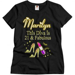 GLITZY GOLD 21ST BIRTHDAY PERSONALIZED DIVA T SHIRT