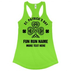 St Pattys Run Custom Text Green