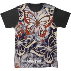 Abstract Art with five Butterflies