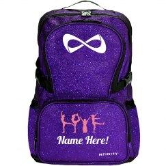 LOVE Cheer Pose Custom Cheerleader Sparkle Bag
