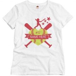 Softball Heart Player Name