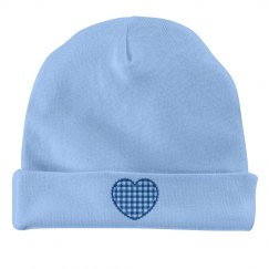 blue baby hat with heart design