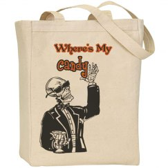 Where's My Candy Halloween Skeleton Tote