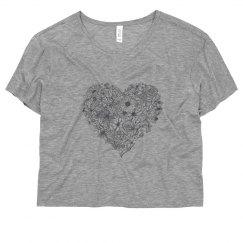 Grey Flower-Heart Tee