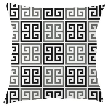 Gray Black White Greek Key Pattern