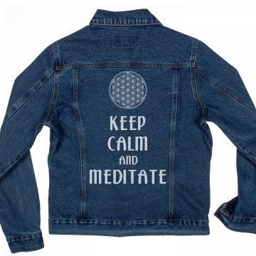 Keep Calm Meditate Flower Of Life white