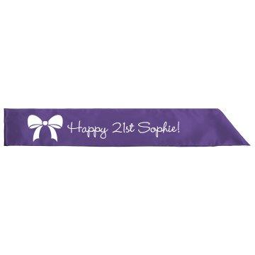 Ribbon 21st Birthday Sash