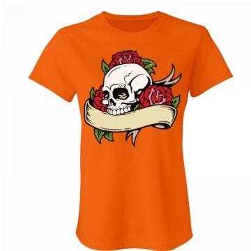 Skull & Roses on Orange