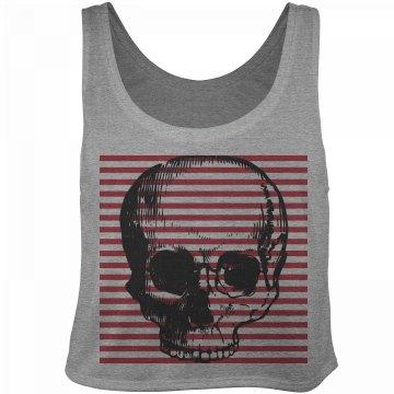 Skull Stripe Crop Top