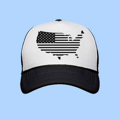 4th Of July USA Black Trucker Hat
