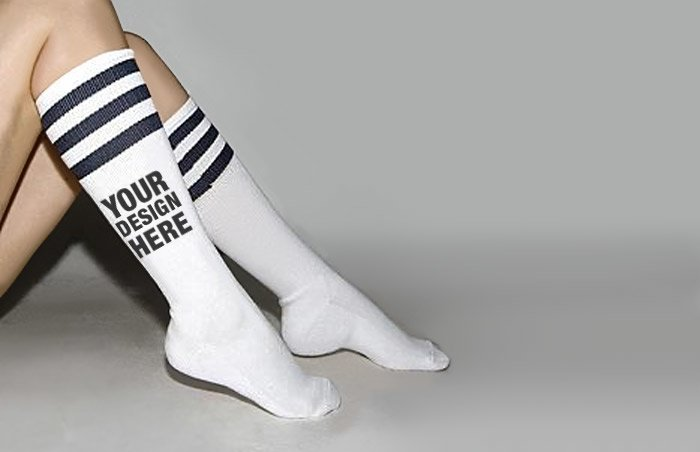 Custom Knee High Socks with Stripes