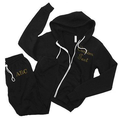 Black & Gold Full Zip Sweatsuit