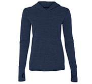 Ladies Triblend Long Sleeved Hooded T-Shirt