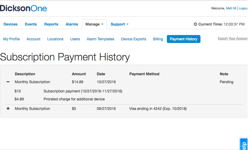 Payment history 704