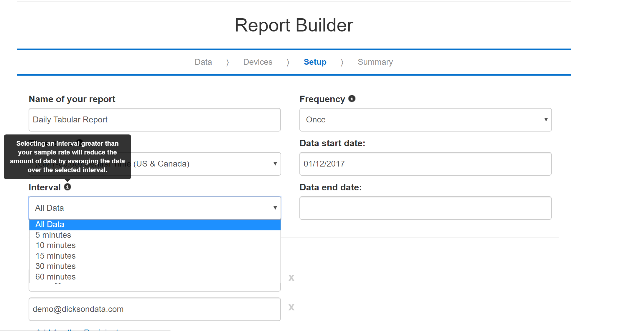 Report builder interval 812