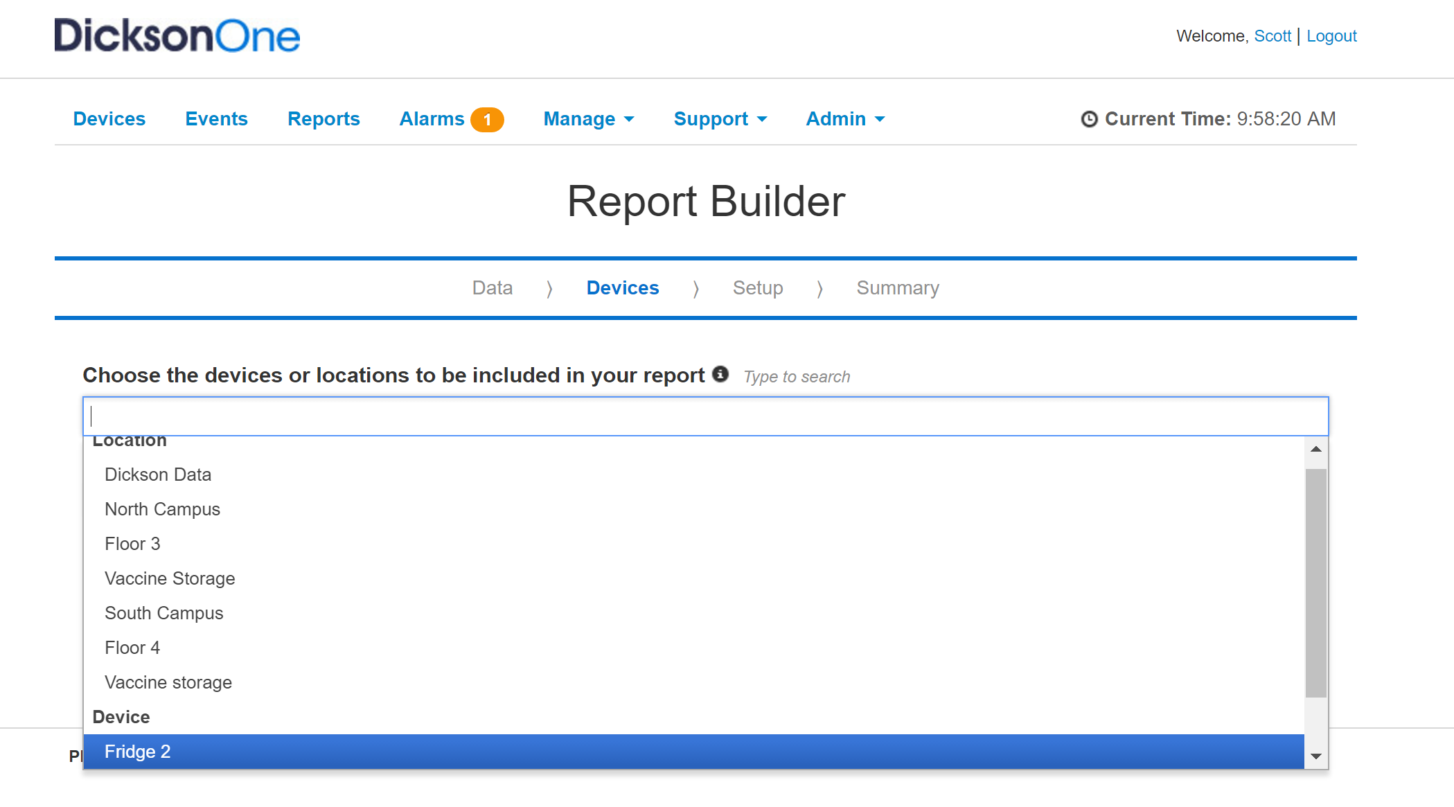 Report builder selections 780