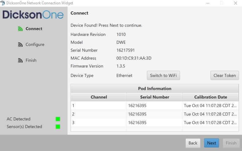 Wifi widget  device found 668