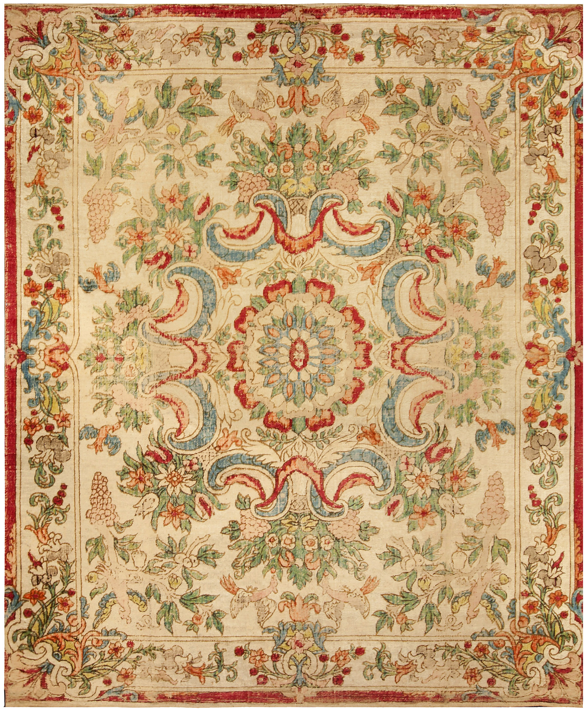 European Silk Table Carpet European Rug Antique Rug
