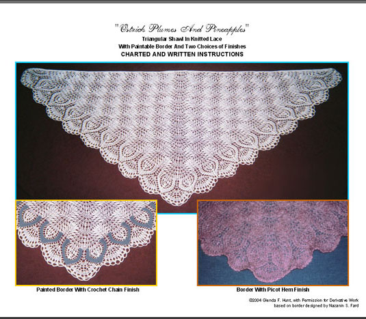 Ostrich Plumes And Pineapplies Easy Knit Triangular Lace Shawl