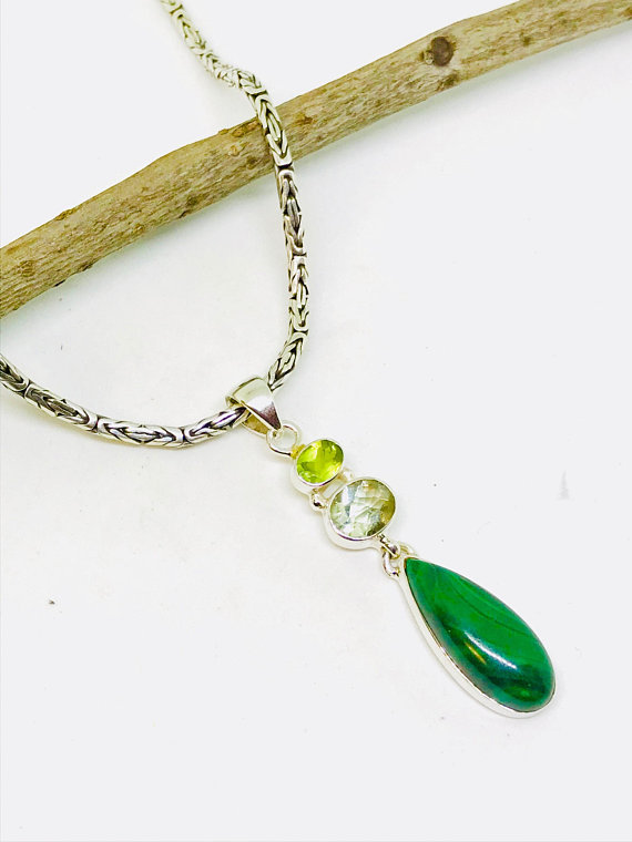 Malachite peridot green amethyst pendant necklaces set in malachite peridot green amethyst pendant necklaces set in sterling silver925 natural authentic stones aloadofball Images