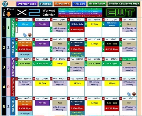 Excel Workout Tool for P90X2