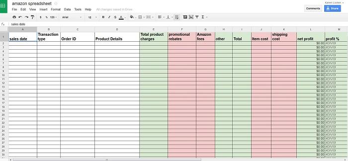 amazon sales profit spreadsheet cut and paste