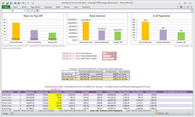 Georges Excel Loan Calculator V31 Single User License Digital