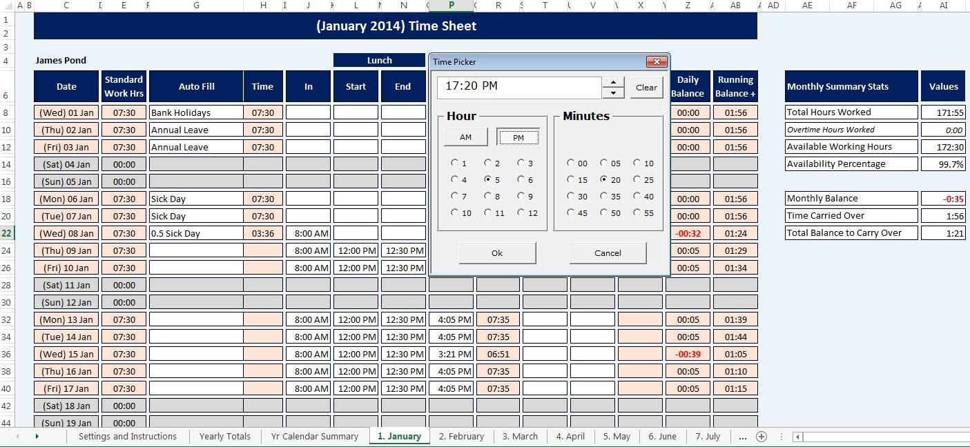 employee staff time sheet calendar reusable microsoft excel