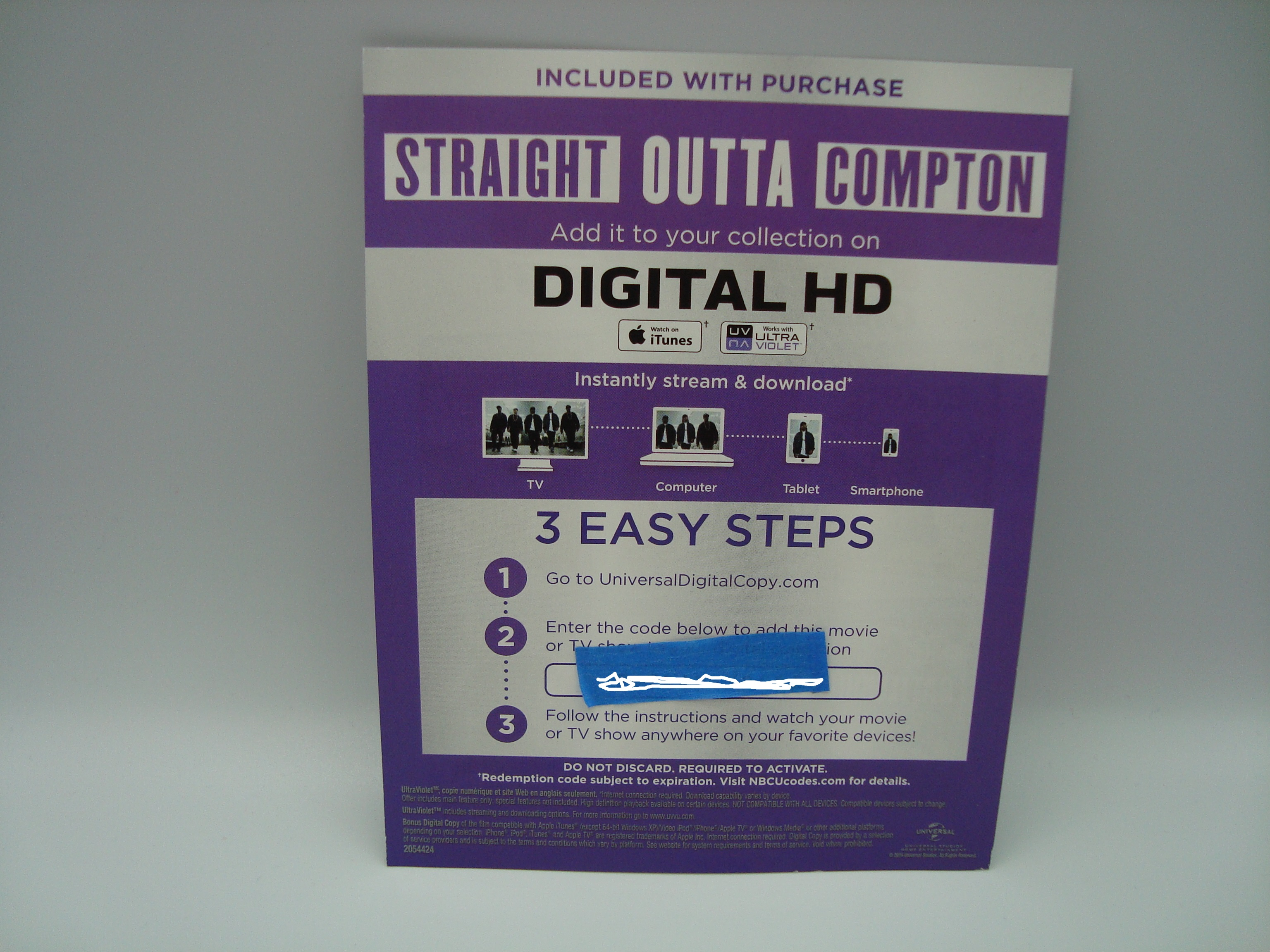 Digital UV movie code: Straight Outta Compton UV Code