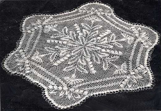 Mallins Handarbeits Vorlage 73 Hexagonal Doily In Knitted Lace By