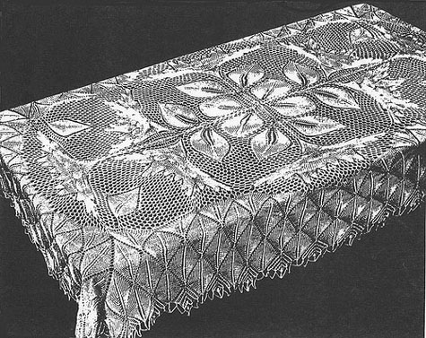 Flammenblume Rectangular Tablecloth In Knitted Lace By Herbert
