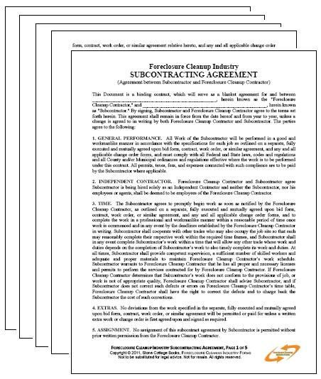 Foreclosure Cleaning Subcontracting Agreement