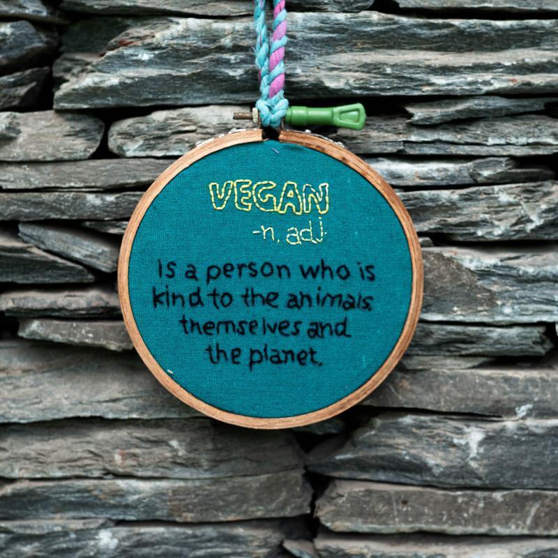 Hand-Embroidered Vegan Hoop Art