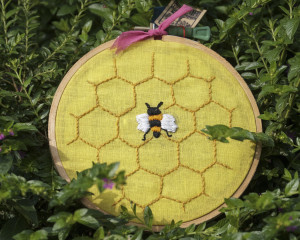 Honeycomb and Bee Embroidered Hoop Art