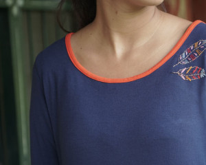 Feathers Embroidered Upcycled Blue T-shirt