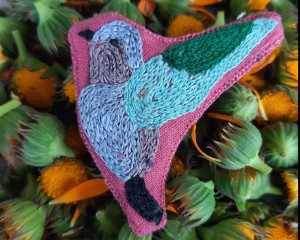 Hand Embroidered Bird Fabric Pin